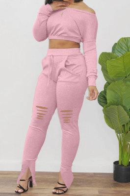 Pink Euramerican Women Trendy Solid Color Oblique Shoulder Tops Hole Pants Sets AA2034-1
