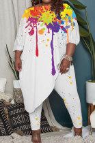 White Splash-Ink Printing Loose Half Sleeve Tops Pants Plus Sets LY045-5