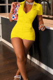 Yellow Wholesal Women Short Sleeve Lapel Neck Single-Breasted With Pocket Elasticband Overall Jumpsuit FH166-6