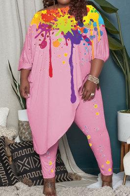 Pink Splash-Ink Printing Loose Half Sleeve Tops Pants Plus Sets LY045-2