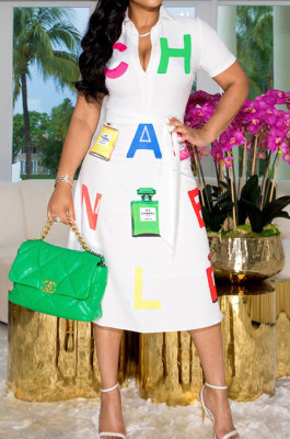 White Women Short Sleeve Sexy Trendy Letters Positioning Printing Tied Button Turn-DownCollar Midi Dress ATE65009