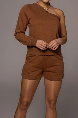 Coffee Modest Autumn One Sleeve Oblique Shoulder Top Drawsting Shorts Casual Sets FH157-1