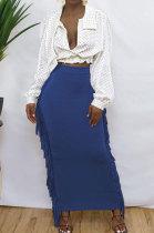 Blue Black Cute Two Side Tassel Long Skirts MTY6538-6