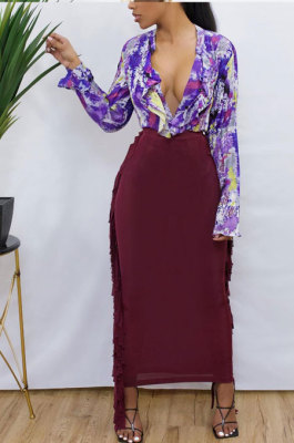 Wine Red Black Cute Two Side Tassel Long Skirts MTY6538-4