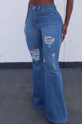 Blue Autumn Winter Women Hole Tight Mid Waist Flare Leg Pants LD81047