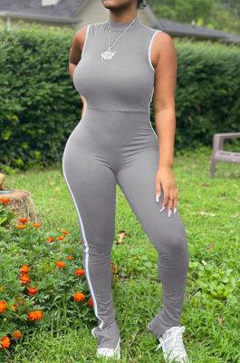 Gray Summer Edge Strip Spliced Sleeveless O Neck Collcet Waist Zip Back Split Sport Jumpsuitts FH159-1