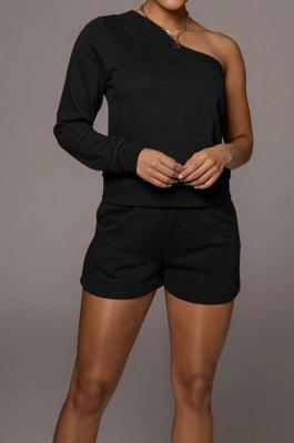 Black Modest Autumn One Sleeve Oblique Shoulder Top Drawsting Shorts Casual Sets FH157-4