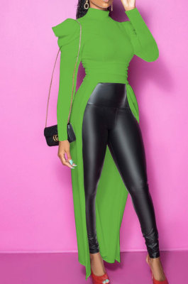 Green Club Slimple Ruffle Long Sleeve High Neck Solid Color Overlay Tops SM9202-2