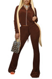 Crop Hoodie Top and Bell-bottomed Trouser Pant Sets HR8191