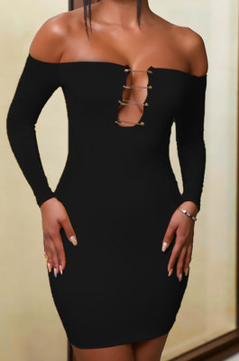 Black Women Sexy Solid Color Strapless Pin Mini Dress ANK06022-3