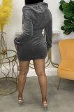 Black Women Fashion Long Sleeve Solid Color Zipper Hooded Tops Korea Velvet Pocket Skirts Sets AA5278-3