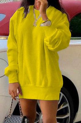 Yellow Euramerican Women Pure Color Long Sleeve Round Collar Loose Waist Mini Dress AMM8365-3