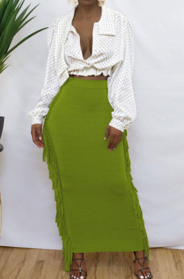 Green Black Cute Two Side Tassel Long Skirts MTY6538-7
