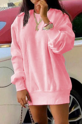 Pink Euramerican Women Pure Color Long Sleeve Round Collar Loose Waist Mini Dress AMM8365-2