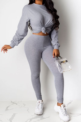 Gray Women Pure Color Long Sleeve Round Collar Fashion Sport Pants Sets AMM8191-2