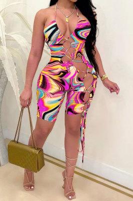 Purple Women Sexy Condole Blet Tie Dye Bandage Hallter Neck Hollow Out Digital Printing Romper Shorts ZZ2131-1