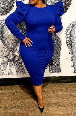 Dark Blue Euramerican Women Sexy Zipper Solid Color Round Collar Mid Waist Puff Sleeve Plus Midi Dress FA8012-3