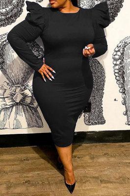 Black Euramerican Women Sexy Zipper Solid Color Round Collar Mid Waist Puff Sleeve Plus Midi Dress FA8012-1