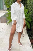 White Euramerican Autumn Solid Color Casual Loose Waist Irregular Cardigan T Shirt/Shirt Dress HM5503