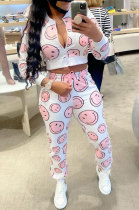 White Women Smiling Face Printing Fashion Zipper Long Sleeve Casual Pants Sets HM5502