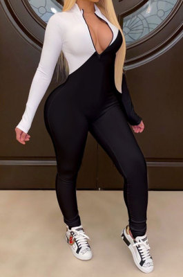White Modest Color Matching Long Sleeve Stand Neck Zipper Bodycon Jumpsuits HY5241-3