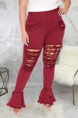 Wine Red Simple New Water Washing Hole Splced Flare Jean Pants SMR2563-1