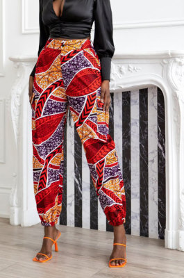 Red Modest Print With Pocket Zipper Casual Ankle Banded Pants BS1286-2