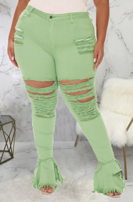 Light Green Simple New Water Washing Hole Splced Flare Jean Pants SMR2563-5