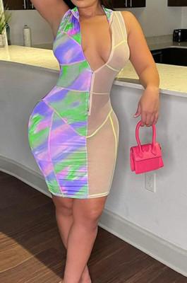 Neon Green Digital Print Mesh Sleeveless O Neck Zip Back Collcet Waist Hip Dress SZS8042-2