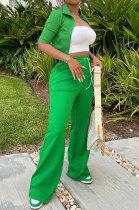 Green Women Autumn Half Sleeve Coat Pure Color Loose Pants Sets HM5504