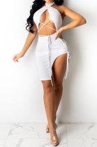 White Wholesal New Halter Neck Strapless Backless Bandage High Waist Solid Color Hip Dress YSH96239 -1