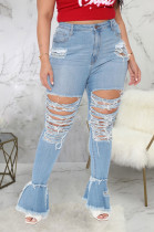 Blue Simple New Water Washing Hole Splced Flare Jean Pants SMR2563-4