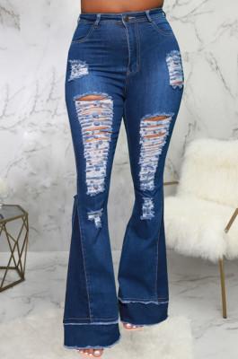 Drak Blue Personality Spliced Hole Elasticty High Waist Slim Fitting Jean Flare Pants SMR2585-3