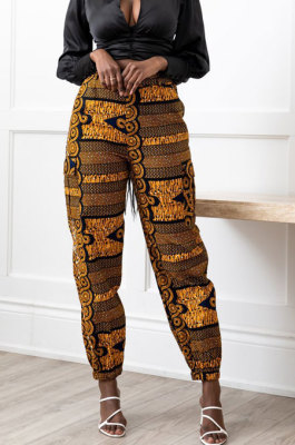 Brown Modest Print With Pocket Zipper Casual Ankle Banded Pants BS1286-1