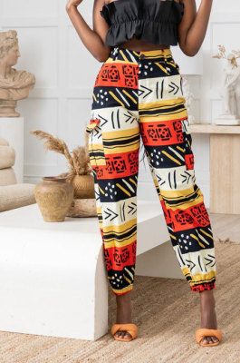 Colorful Modest Print With Pocket Zipper Casual Ankle Banded Pants BS1286-3