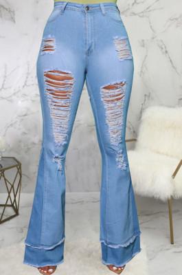 Light Blue Personality Spliced Hole Elasticty High Waist Slim Fitting Jean Flare Pants SMR2585-2