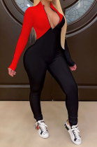Red Modest Color Matching Long Sleeve Stand Neck Zipper Bodycon Jumpsuits HY5241-2