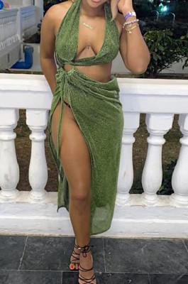 Drak Green Sexy Club Halter Neck Low-Cut Backless Hollow Out Slit Dress SZS8039-2