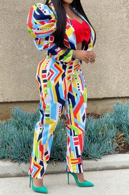 Rainbow Women Puff Sleeve Long leeve Printing Irregular Pants Sets JZH8075