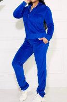 Royal Blue Solid Color Long Sleeve Coat Korea Velvet Fashion Casual Sport Straight Leg Pants Sets HM5507-3
