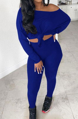 Blue Simple Long Sleeve Loose Top Bodycon Pants Casual Two-Piece LSN7119-1