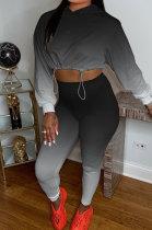 Black Wholesale Gradient Long Sleeve Loose Hoodie Skiny Pants Sport Sets KSN88011-1
