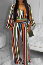 Orange Autumn Winter Women New Stripe Lantern Sleeve Loose Pants Sets HM5508