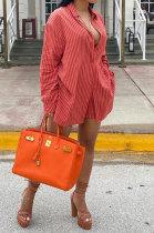 Red Women Cardigan Long Sleeve Shirts Stripe Shorts Sets HM5505