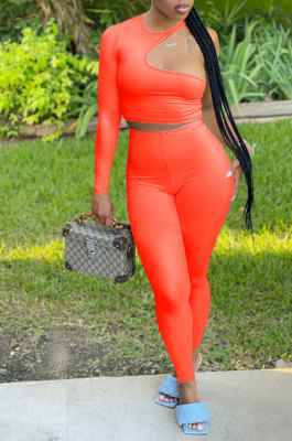 Orange Wholesale Autumn Single Sleeve Top Pencil Pants Two-Piece YSH86262-3