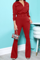 Red New Autumn Winter Long Sleeve Zip Front Hoodie Flare Pants Solid Color Sport Sets KSN88012-1
