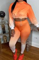 Orange Wholesale Gradient Long Sleeve Loose Hoodie Skiny Pants Sport Sets KSN88011-2