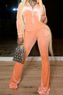 Orange Wholesale Velvet Long Sleeve Zip Front Hoodie Flare Wide Leg Jumpsuits YX9297-1