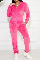 Rose Red Solid Color Long Sleeve Coat Korea Velvet Fashion Casual Sport Straight Leg Pants Sets HM5507-1