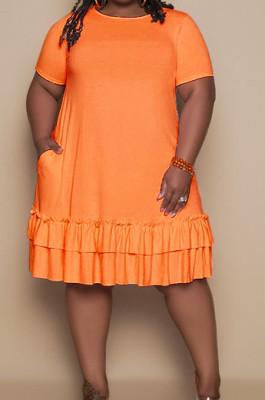 Orange Euramerican Women Trendy Loose Flounce Pure Color Ruffle Plus Mini Dress MA6685-5